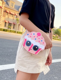 Fashion Pink Cake Print Contrast Color Childrens Messenger Shoulder Bag