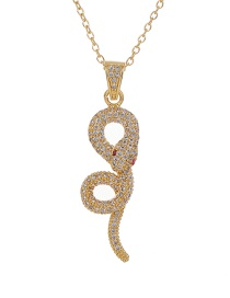 Fashion Golden Copper Inlaid Zircon Serpentine Necklace