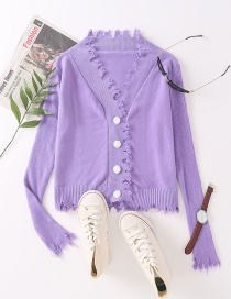 Fashion Purple Short Knit Sweater With Raw Edges