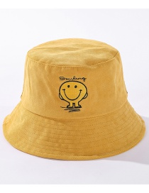 Fashion Yellow Embroidered Smiley Contrast Color Fisherman Hat
