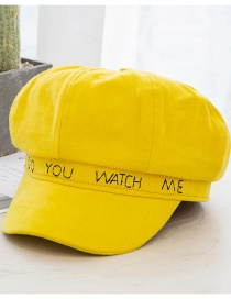 Fashion Yellow Letter Embroidery Octagonal Beret