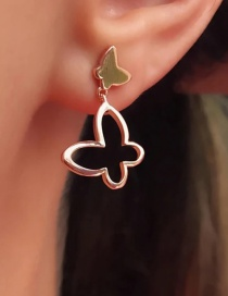 Fashion Rose Gold Alloy Line Butterfly Hollow Stud Earrings