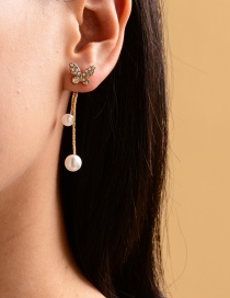 Fashion Gold Color Alloy Diamond Pearl Butterfly Stud Earrings