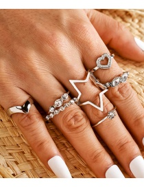 Fashion Silver V-shaped Adjustable Heart-shaped Five-pointed Star Love Ring Set