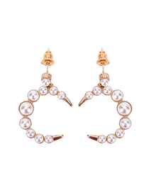 Fashion Gold Color Moon Pearl Horn Alloy Earrings