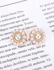 Fashion Gold Color Pearl Round Alloy Earrings
