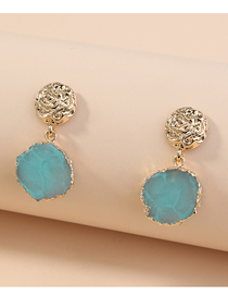 Fashion Blue Resin Round Embossed Alloy Earrings