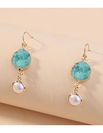 Fashion Blue Pearl Crystal Cluster Resin Alloy Geometric Earrings