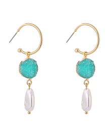 Fashion Blue Crystal Cluster Pearl C-shaped Alloy Earrings