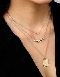 Fashion Gold Color Square Face Lock Angel Multi-layer Necklace