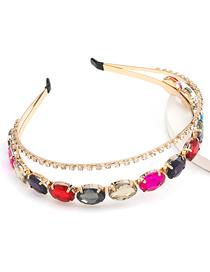Fashion Color Oval Glass Drill Alloy Double Headband