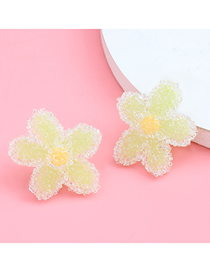 Fashion Yellow Soft Ceramic Flower Contrast Alloy Earrings
