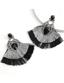 Fashion Black Alloy Inlaid Glass Diamond Double Fan-shaped Tassel Earrings