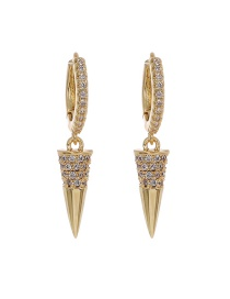 Fashion Golden Copper Inlaid Zircon Rivet Earrings