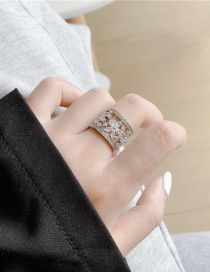 Fashion Flowers Diamond Flower Leaf Alloy Hollow Wide Edge Ring