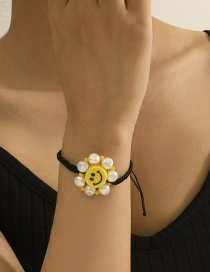 Fashion Yellow Wax Thread Pearl Smiley Stainless Steel Adjustable Bracelet
