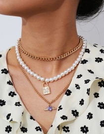 Fashion Golden Diamond Pearl Lock Shaped Alloy Multilayer Necklace