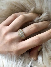 Fashion Golden Gold-plated Wide-face Diamond-studded Geometric Alloy Ring