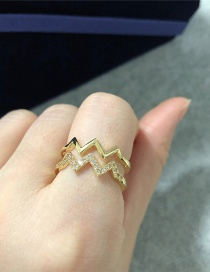 Fashion Golden Copper Inlaid Zircon Heartbeat Wave Double Ring