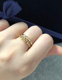 Fashion Golden Copper Inlaid Zircon Love Letter Double Open Ring
