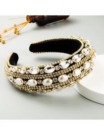 Fashion Golden Rhinestone-studded Geometric Pearl Wide-rim Sponge Headband