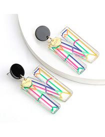 Fashion N Color Stripe Acetate Plate Letter Alloy Disc Earrings