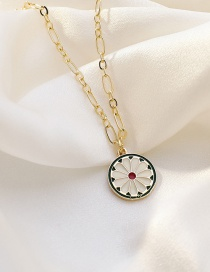 Fashion Golden Small Daisy Dripping Oil Alloy Thick Chain Necklace