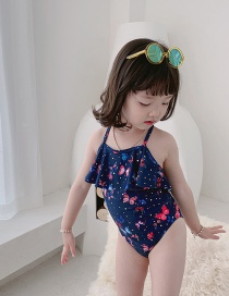 Fashion Navy Blue Butterfly Butterfly Print Ruffled Childrens One-piece Swimsuit