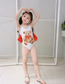 Fashion Bear Childrens One-piece Swimsuit With Bear Print Bow