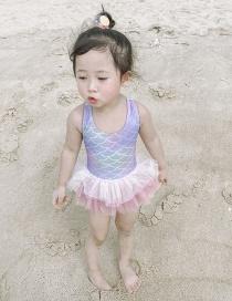 Fashion Mermaid Tutu Net Yarn Bow Knot Check Mermaid Childrens One-piece Swimsuit
