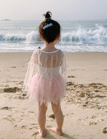 Fashion Feather Veil Pearl Feather Mesh Childrens One-piece Swimsuit Shawl