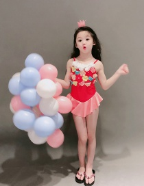 Fashion Variegated Flowers Flower Pearl Contrast Color Ruffled Childrens One-piece Swimsuit