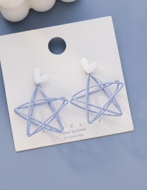 Fashion Blue Love Hollow Five-pointed Star Alloy Earrings