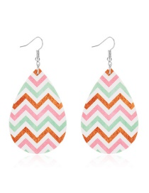 Fashion Big Wave Pattern Drop-shaped Leather Print Geometric Earrings