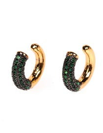 Fashion Green Spinel Electroplated Diamond C-shaped Non-pierced Ear Bone Clip