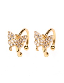 Fashion Golden Copper Inlaid Zircon Butterfly Ear Clip Without Pierced Ears