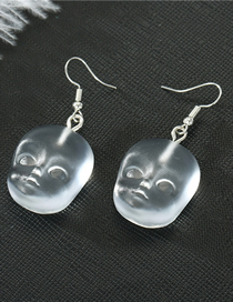 Fashion Bald Transparent Earrings Fairy Head Doll Resin Palm Earring Necklace