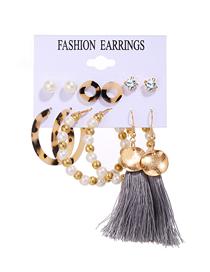 Fashion Color Mixing Pearl Tassel Diamond Resin Geometric Earring Set