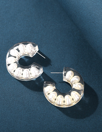 Fashion Creamy-white Epoxy Semicircle Inlaid Letter C Earrings