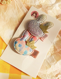 Fashion Rabbit Sequined Crown Bunny Dolphin Baby Elephant Hairpin Set For Children