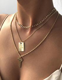 Fashion Golden Key Square Brand Alloy Multilayer Necklace