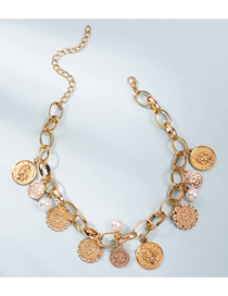 Fashion Golden Pearl Coin Short Alloy Necklace