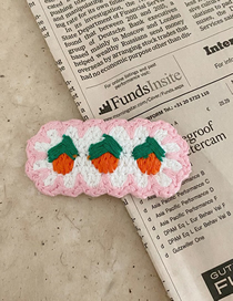 Fashion Strawberry-pink Woolen Woven Strawberry Cherry Flower Hairpin