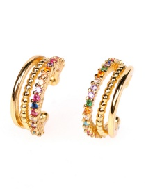 Fashion Fancy Diamond Copper Inlaid Zircon Multi-layer Geometric C-shaped Non-pierced Ear Bone Clip