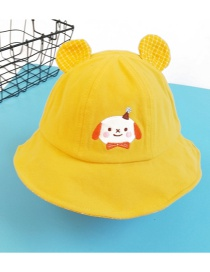 Fashion Turmeric Puppy Embroidery Childrens Fisherman Hat