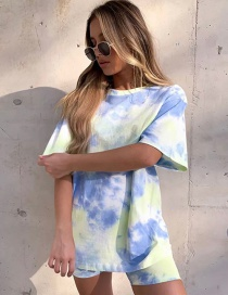 Fashion Color Tie-dye Short-sleeved Loose Mid-length T-shirt