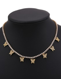 Fashion 7 Copper Inlaid Zircon Butterfly Necklace