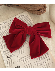 Fashion Wine Red Velvet Big Bow Fabric Alloy Hairpin