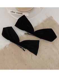Fashion A Pair Of Three-dimensional Velvet Clips Velvet Bow Fabric Alloy Hairpin Hair Rope