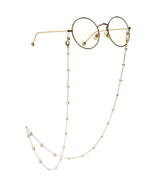 Fashion Golden Peach Heart Pearl Anti-lost Anti-drop Glasses Chain